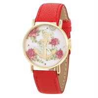 2014 New Arrival Fashion Flower Anchor Geneva Watch Women Dress Watch PU Leather Strap Watches