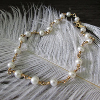 Exclusive Custom 1/20 14kt Gold Filled 3-4mm Natural Freshwater Pearl Bracelet Handmade