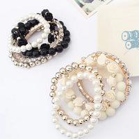 2014 Summer Black Trendy Women Candy Color Pearl Lady Rose Flower Multilayer Charm Wrap Link Bracelet & Bangle, Free Shipping
