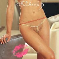 2015 Women's Single String Diamond Tassel Hipster exotic Lingerie underwear G-Strings panties micro Bikini Thongs T-Back Briefs