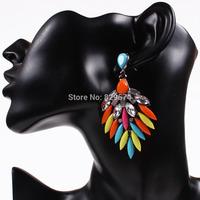 [Free Style] Brand Fashion Feather Crystal Resin Earrings Luxury Elegant Earrings Vinatge Jewelry For Women New 2014