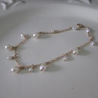 Original Design 1/20 14kt Gold Filled Natural Freshwater Pearl Chain Rice Beads  Bracelet