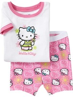 1X 2014 NEW hello kitty pajamas kids for Girls summer short sleeves t-shirt casual sleepwear girls Cotton clothing set pink 2-7Y