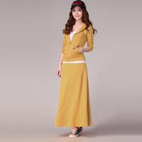 2014 autumn women's with a hood sportswear twinset casual plus size sweatshirt dress set