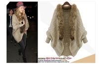 Fox Fur Collar Sweater Coat 2014 New Women's Bat Sleeve Cardigan Sweater Shawl Open Stich Wool Cardigan Casual Coat Autumn