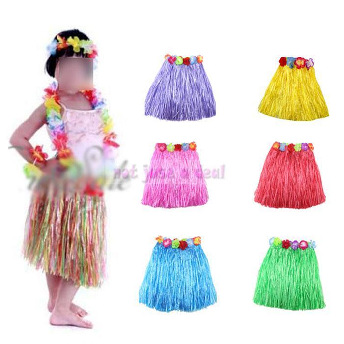 Kid criança menina flor Hula saia de grama curta fantasia pulseira saia traje havaiano dança conjunto 5in1(China (Mainland))