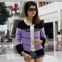 2014 South Korea New Ladies' mohair Knitting cardigan womens autumn/winter Cardigan sweater coat stripe Wool coats Free shipping