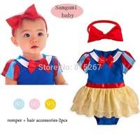 Summer Baby Girls Cotton Rompers+Headband Set Children Cartoon Animation Snow White Bodysuit Costume Kids Clothing Set