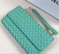 new fashion high quality genuine leather women long purses ,elegant weave sheepskin fashion wallets 801