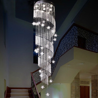 Free shipping spiral design crystal chandelier lustres home decoration led home stair lighting