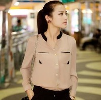 ( Send button ) new Korean hit color gold buckle small collar shirt chiffon shirt female long-sleeved shirt