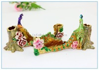 100% Handmade Enamel Metal Peacock Wedding gifts guest name card holder with pen holder