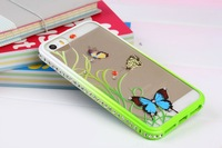3DNew Luxury  Bling Crystal Diamond Bumper + Hard green Border + artistic butterfly back cover case For  iphone 5/5s three-piece