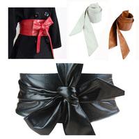 2014 New Arrival Autumn Winter Fashion Women PU Soft Leather Bow Body Shaping Bands Wide Belt Cummerbund