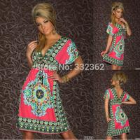 Free Shipping 2014 New Fashion Retro 1960s 1970s Vintage Print V Neck Hippie Bohemian Summer Dress Women Beach Dress