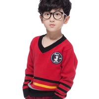 Boys Sweater Fall New Arrival Kids Pullover British Style V-neck Size 7-16 Years