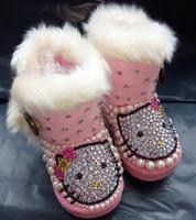 Free shipping Children rhinestone pearl girl's snow boots handmade children cartoon fashion snow boots girl winter Warm shoes