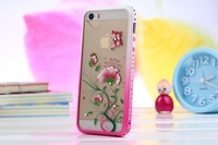 3D New Luxury  Bling Crystal Diamond Bumper + Hard Pink Border + beautiful flower back cover case For  iphone 5/5s three-piece