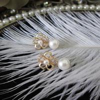 Private Custom Made Vitage Zircon Flower Natural Freshwater Pearl Drop Earrings