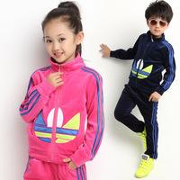 2014 Autumn Children's sports suit Boys girls Velvet jacket Fashion trousers Kids clothes Retail Free shipping 3-8Y