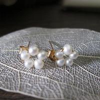 Original Design Hand Made Winding 1/20 14kt Gold Filled Natural Freshwater Pearl Mini Flower Stud Earrings