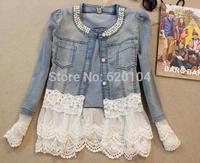 2014 spring and autumn hot brand new women denim jacket lace beading fashion denim solt jk high quality short coat free shipping