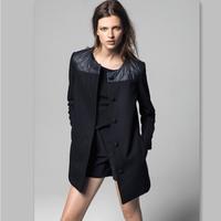 New Women's Winter Coat PU Patchwork O-Neck Plus Size Fashion Woollen Coat Overcoat Size S M L XL Free Shipping XX567