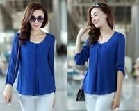 2014 New Autumn Korean Fashion Shirts Plus Size Temperament Causal Long Sleeve O-Neck Chiffon Women's Blouse 908