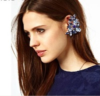 [Free Style] Trendy Brand Full Crystal Blue Butterfly Clip Earings Exaggerate Luxury Earrings For Women New Fashion