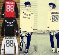 Fashion women's baseball hoodies 2014 european Hip hop style men Parisien 88 west number sweatshirt star print O-Neck outwear