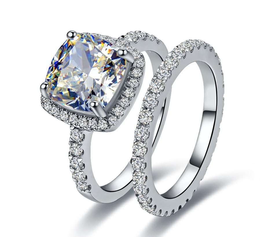 2 Pcs 2 Carat Cushion Princess Cut SONA Synthetic Diamond Engagement Wedding