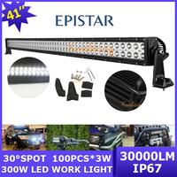 4WD 100x3W car SUV Lighting bar Work Light 4x4 12V/24V 30000lm ATV Epistar LED off-road lamp 300W Wagon Spot/Flood Beam AWD Van