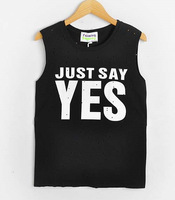 Cutout hole sleeveless top Just Say Yes letter print loose o-neck HARAJUKU t-shirt