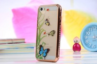 Three-piece  3DLuxury  Bling Crystal Diamond Bumper + Hard Copper Border + artistic butterfly back cover case For  iphone 5/5s