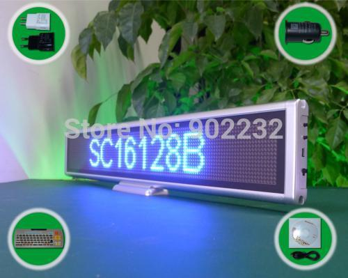 Free Ship/SC16128B/Led Message Board/desk screen/ 16*128PIXELS/BLUE /Scrolling sign/smd 0603/digital table led /high bright(China (Mainland))