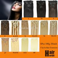 "8Pcs 20""  Clip in Remy Hair Extensions Virgin human hair 100g Full head Se Color Hair"