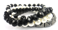 Free Shipping 4 string Black Crystal Glass Beads and semi-precious stone bracelet with pearl hyramid Women bracelet