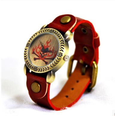 "Free shipping ""Flame skulls"" quartz watch Original High Quality fashion Genuine Leather Vintage Watches,Bracelet Wristwatches(China (Mainland))"