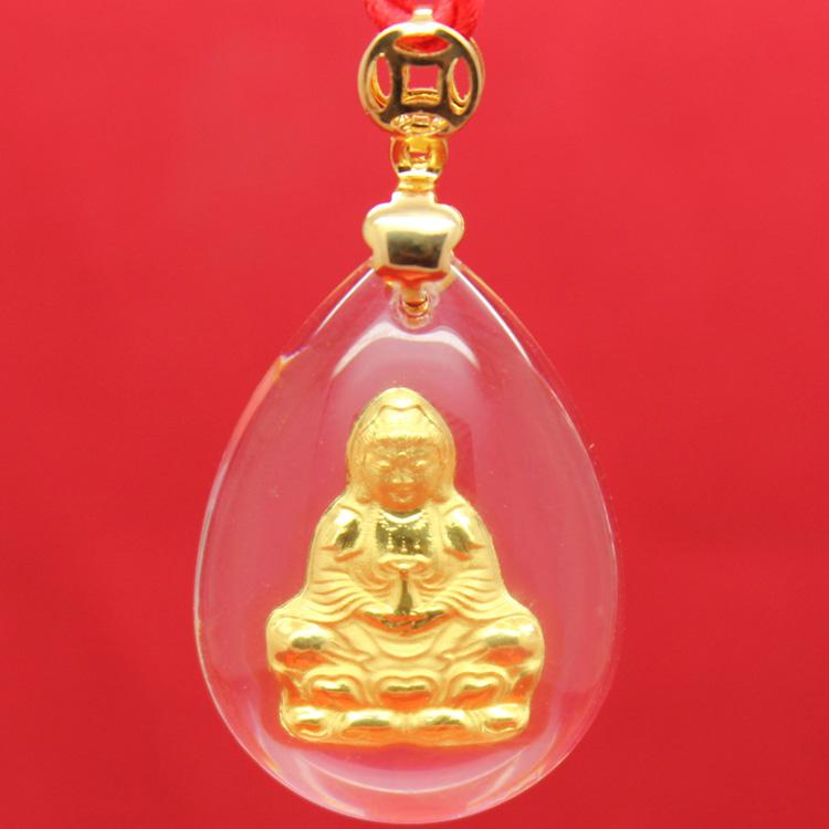 Crystal soil 999 fine gold pendant male Women zodiac pendant male(China (Mainland))