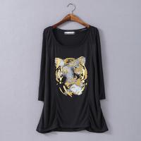 XXL-6XL Casual Women Tiger T-Shirt Tee Top Novelty Ladies Blouse Shirt XXXL XXXXL XXXXXL 4XL 2014 New Fashion Autumn Fall