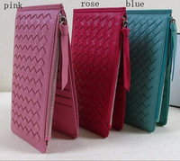 wholesale elegant genuine leather kintting sheep skin women card holder wallets ,fashion long purses 809