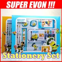 NEW Despicable Me Kids School Supplies Pencil Case Bag Ruler/Sharpener/Eraser/Notebook Stationery Products Supplier Gifts KT018