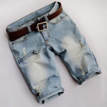 Мужская Большой размер мода отверстие джинсовые шорты мужской свободного покроя молния ...