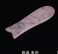 wholesale Pink Quartz guasha board, fish style scraping plate ,face facial eye beauty scraping beauty detoxl 10pc/lot