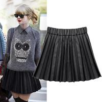 England Style Autumn All-match Mini Saias Femininas 2014 Elastic Waist Pleated Skirt Plus Size Women Pleated Saias 6089