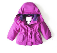 1pcs/lot,Free shipping winter 2014 New children wear,girl's Waterproof windproof brand cotton Ski-wear,2-5year, pink purple