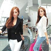 New Sexty Hollow Out Lace Women Autumn Jacket White And Black Korean Style Slim  Femme Coat Long Sleeve Fashion Coat