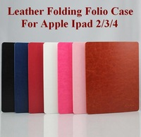 Leather Case For Apple Ipad2/3/4  Ultrathin Fashion Folding Folio Case with Sleep & Awake Function Seven Colors Free Shipping