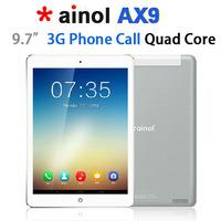 "2014 New 9.7"" Ainol AX9 Numy 3G Phone Call Tablet PC MTK8382 Quad Core 1.3GHz Android 4.2 1GB/8GB Bluetooth GPS WIFI 6000mAh"