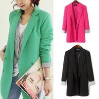 M-3XL size women blazer 2014 new fashion plus size double breasted women blaser female loose medium long blazers free shipping